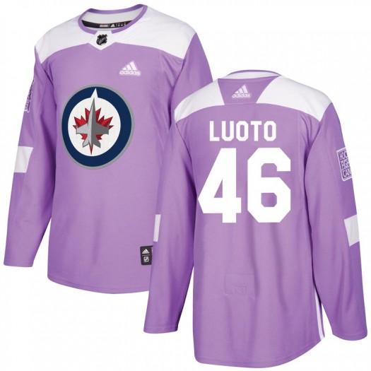 Joona Luoto Winnipeg Jets Men's Adidas Authentic Purple Fights Cancer Practice Jersey