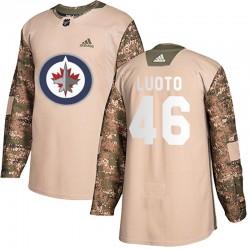 Joona Luoto Winnipeg Jets Youth Adidas Authentic Camo Veterans Day Practice Jersey