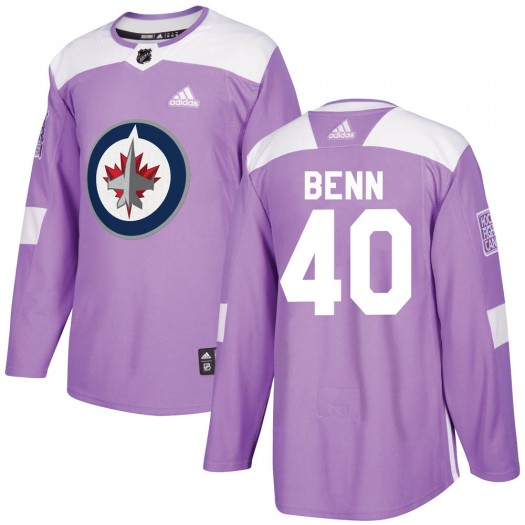Jordie Benn Winnipeg Jets Youth Adidas Authentic Purple Fights Cancer Practice Jersey