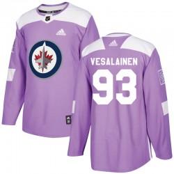 Kristian Vesalainen Winnipeg Jets Men's Adidas Authentic Purple Fights Cancer Practice Jersey