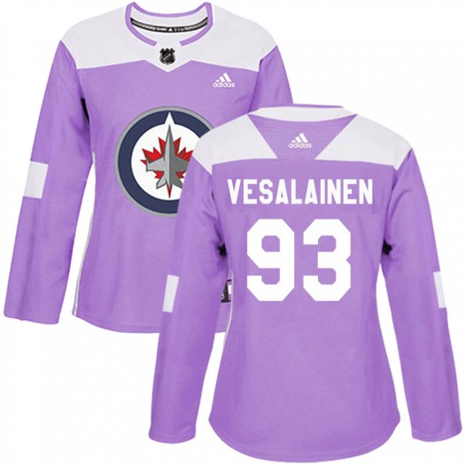 Kristian Vesalainen Winnipeg Jets Women's Adidas Authentic Purple Fights Cancer Practice Jersey
