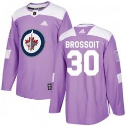 Laurent Brossoit Winnipeg Jets Men's Adidas Authentic Purple Fights Cancer Practice Jersey