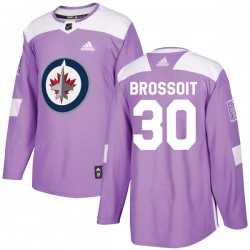 Laurent Brossoit Winnipeg Jets Youth Adidas Authentic Purple Fights Cancer Practice Jersey