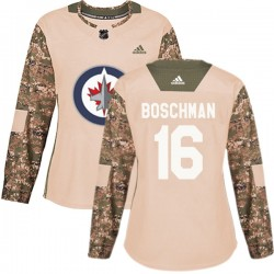 Laurie Boschman Winnipeg Jets Women's Adidas Authentic Camo Veterans Day Practice Jersey
