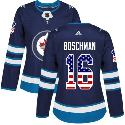 Laurie Boschman Winnipeg Jets Women's Adidas Authentic Navy Blue USA Flag Fashion Jersey