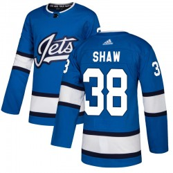 Logan Shaw Winnipeg Jets Men's Adidas Authentic Blue Alternate Jersey