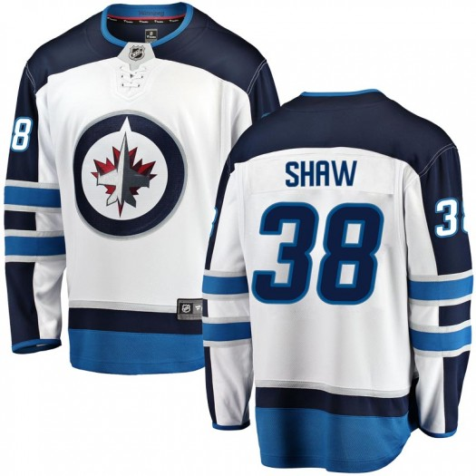 Logan Shaw Winnipeg Jets Men's Fanatics Branded White Breakaway Away Jersey
