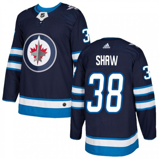 Logan Shaw Winnipeg Jets Youth Adidas Authentic Navy Home Jersey