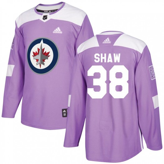 Logan Shaw Winnipeg Jets Youth Adidas Authentic Purple Fights Cancer Practice Jersey