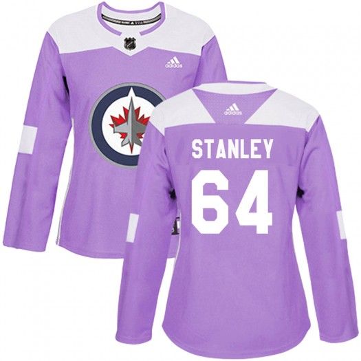 Logan Stanley Winnipeg Jets Women's Adidas Authentic Purple Fights Cancer Practice Jersey