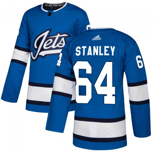 Logan Stanley Winnipeg Jets Youth Adidas Authentic Blue Alternate Jersey