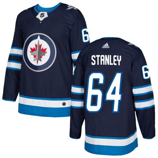 Logan Stanley Winnipeg Jets Youth Adidas Authentic Navy Home Jersey