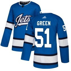 Luke Green Winnipeg Jets Men's Adidas Authentic Blue Alternate Jersey