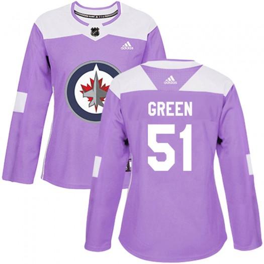 Luke Green Winnipeg Jets Women's Adidas Authentic Purple Fights Cancer Practice Jersey