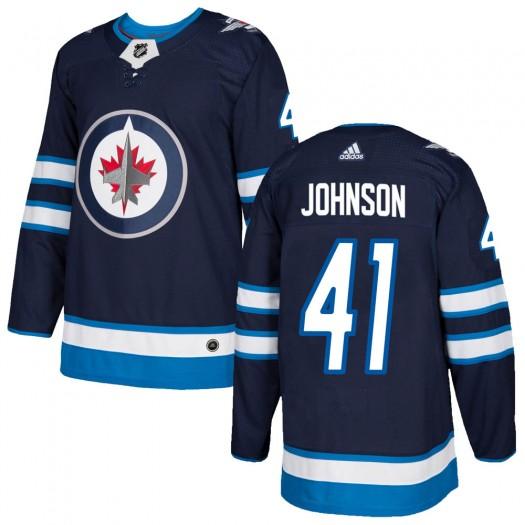 Luke Johnson Winnipeg Jets Men's Adidas Authentic Navy Home Jersey