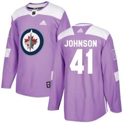 Luke Johnson Winnipeg Jets Men's Adidas Authentic Purple Fights Cancer Practice Jersey