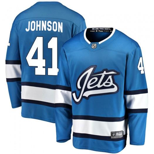 Luke Johnson Winnipeg Jets Men's Fanatics Branded Blue Breakaway Alternate Jersey