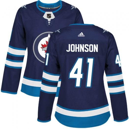 Luke Johnson Winnipeg Jets Women's Adidas Authentic Navy Home Jersey