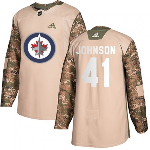 Luke Johnson Winnipeg Jets Youth Adidas Authentic Camo Veterans Day Practice Jersey