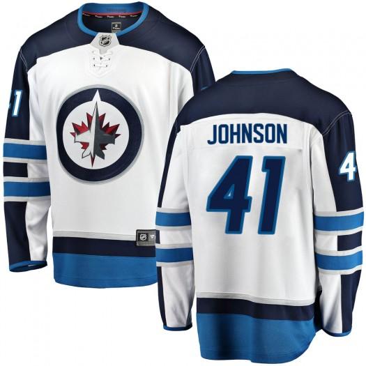 Luke Johnson Winnipeg Jets Youth Fanatics Branded White Breakaway Away Jersey