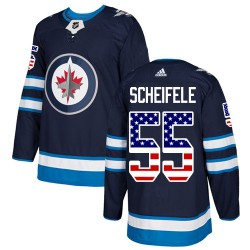 Mark Scheifele Winnipeg Jets Men's Adidas Authentic Navy Blue USA Flag Fashion Jersey