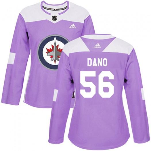 Marko Dano Winnipeg Jets Women's Adidas Authentic Purple Fights Cancer Practice Jersey