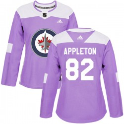 Mason Appleton Winnipeg Jets Women's Adidas Authentic Purple Fights Cancer Practice Jersey