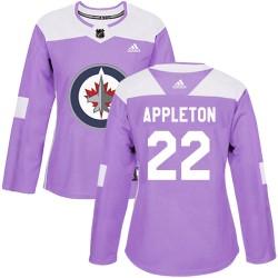 Mason Appleton Winnipeg Jets Women's Adidas Authentic Purple Fights Cancer Practice Jersey