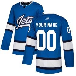 Men's Adidas Winnipeg Jets Customized Authentic Blue Alternate Jersey