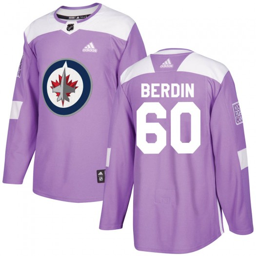 Mikhail Berdin Winnipeg Jets Youth Adidas Authentic Purple ized Fights Cancer Practice Jersey