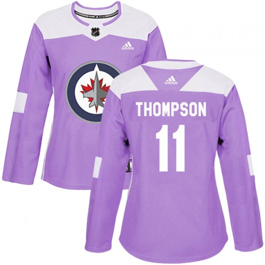 Nate Thompson Winnipeg Jets Women's Adidas Authentic Purple Fights Cancer Practice Jersey
