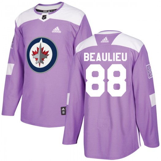 Nathan Beaulieu Winnipeg Jets Men's Adidas Authentic Purple Fights Cancer Practice Jersey