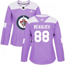Nathan Beaulieu Winnipeg Jets Women's Adidas Authentic Purple Fights Cancer Practice Jersey