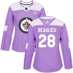 Nathan Beaulieu Winnipeg Jets Women's Adidas Authentic Purple Fights Cancer Practice Jersey