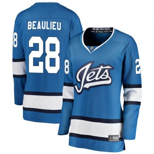 Nathan Beaulieu Winnipeg Jets Women's Fanatics Branded Blue Breakaway Alternate Jersey