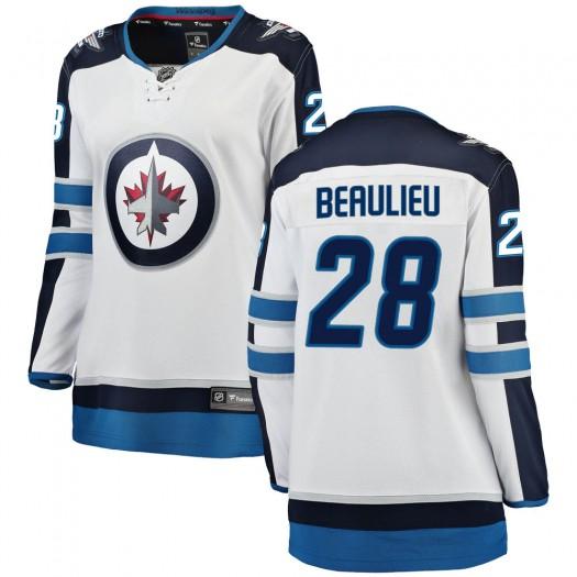 Nathan Beaulieu Winnipeg Jets Women's Fanatics Branded White Breakaway Away Jersey
