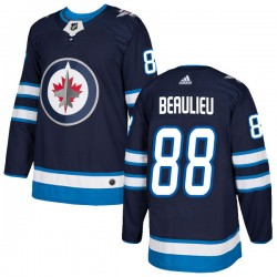Nathan Beaulieu Winnipeg Jets Youth Adidas Authentic Navy Home Jersey