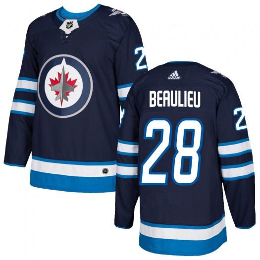 Nathan Beaulieu Winnipeg Jets Youth Adidas Authentic Navy Home Jersey