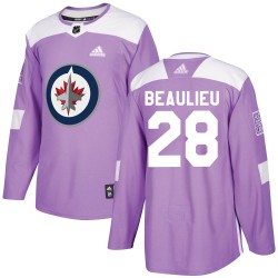 Nathan Beaulieu Winnipeg Jets Youth Adidas Authentic Purple Fights Cancer Practice Jersey