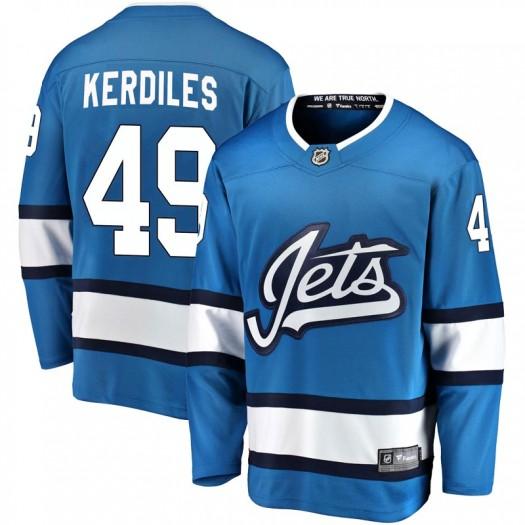 Nic Kerdiles Winnipeg Jets Men's Fanatics Branded Blue Breakaway Alternate Jersey