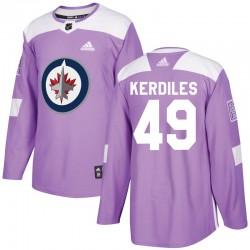 Nic Kerdiles Winnipeg Jets Youth Adidas Authentic Purple Fights Cancer Practice Jersey