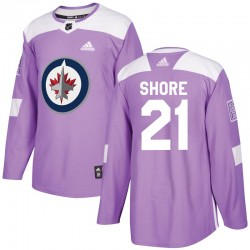 Nick Shore Winnipeg Jets Youth Adidas Authentic Purple Fights Cancer Practice Jersey