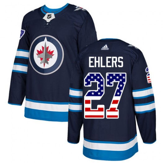 Nikolaj Ehlers Winnipeg Jets Men's Adidas Authentic Navy Blue USA Flag Fashion Jersey