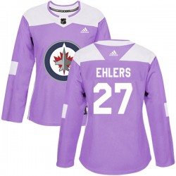 Nikolaj Ehlers Winnipeg Jets Women's Adidas Authentic Purple Fights Cancer Practice Jersey