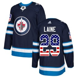 Patrik Laine Winnipeg Jets Youth Adidas Authentic Navy Blue USA Flag Fashion Jersey