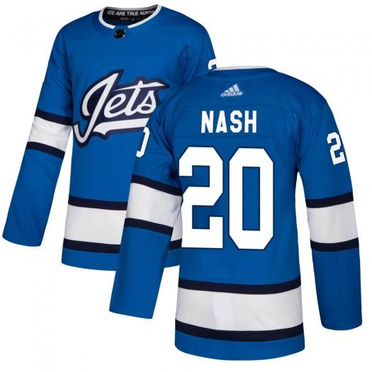 Riley Nash Winnipeg Jets Men's Adidas Authentic Blue Alternate Jersey