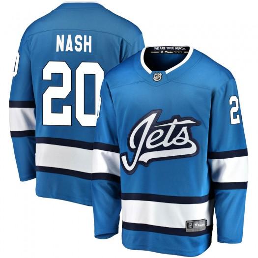 Riley Nash Winnipeg Jets Men's Fanatics Branded Blue Breakaway Alternate Jersey
