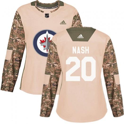 Riley Nash Winnipeg Jets Women's Adidas Authentic Camo Veterans Day Practice Jersey