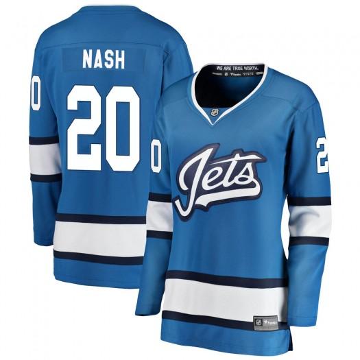 Riley Nash Winnipeg Jets Women's Fanatics Branded Blue Breakaway Alternate Jersey