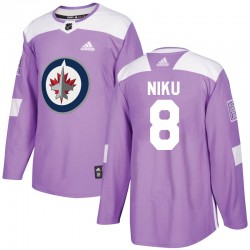 Sami Niku Winnipeg Jets Men's Adidas Authentic Purple Fights Cancer Practice Jersey